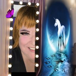 freetoedit makeupstickers unicorn halfface theatremirror clock