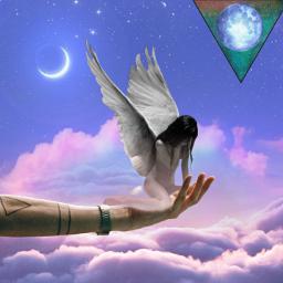 hand holdingangel sky moon cloudsandsky cloud moons freetoedit default