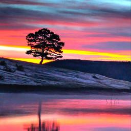 natureza pordosol sunset paisagem landscape horizonte hj arvore tree entardecer anoitecer ceu sky freetoedit