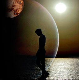 universe planets sea beach ocean freetoedit picsart unsplash ircsunsetsilhouette sunsetsilhouette