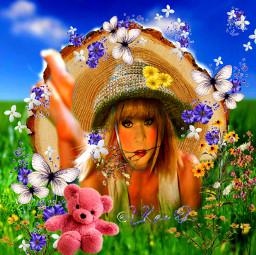 freetoedit nature underthesun funinthesun teddybear onmytummy atthemeadow sky butterflies flowers grass picsart colorinme ircatreecookie atreecookie