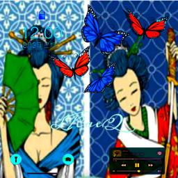 freetoedit phone frame wallpaper wallscreen japanese women kimono people colorinme rccollagefun collagefun