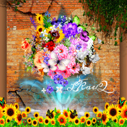 freetoedit fountainofflora flowers varietyofflowers playwithstickers fountain backdrop poster colorinme ircmyfavebeverage myfavebeverage